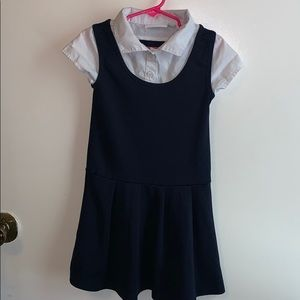White collar and navy blue dress uniform.Size XS 4